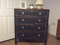 Solid upcycled chest of drawers in chalk graphite and gold effect finish