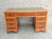"""Burr 3 part Quality Desk """"Ref 108"""" Yew + Burr Wood (UK Delivery)"""