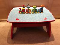 Mega Bloks Wooden table with brick storage and Lego Duplo number train