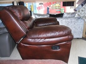 leather settee and chair brown recliners can deliver local at small cost