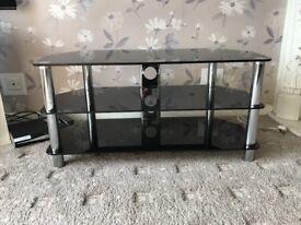 Black Glass and Chrome TV corner unit with 3 shelves