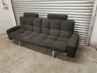 FREE DELIVERY GREY FABRIC CLIC CLAC SOFA BED WITH DETACHABLE STOOLS GOOD CONDITION