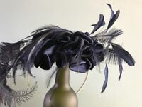 Navy Blue velvet feathered facinator