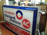 UNITED DELCO ILLUMINATED TWO SIDED HANGING SIGN