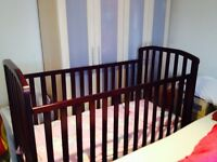 3 piece nursery bedroom furniture set in dark cherry wood