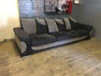 DFS BLACK AND GREY FABRIC SOFA IN NICE CONDITION