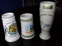3 Collectable German Bier or Beer Steins