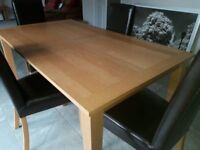 Oak Dining Table (extending) & Chairs