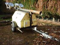 Diesel towable lighting tower unit Mitsubishi engine serviced working 100% complete with spares