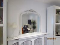 Large White Overmantle Mirror
