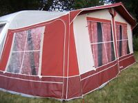 Caravan Awning- Venture Altantic 900cm-Burgundy- Lightweight frame-Complete with Skirts & Curtains