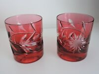 Pair of red crystal tumblers