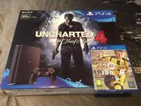 PS4 slim, 500GB, Uncharted 4 Bundle and FIFA 17