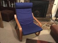 Ikea Poang armchair, royal blue, excellent condition