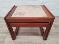 Vintage Pair Of Tiled Side Tables (DELIVERY AVAILABLE FOR THIS ITEM OF FURNITURE)