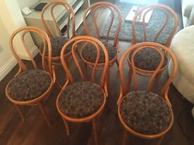 6x Wooden chairs with padded seat