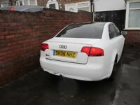WHITE AUDI A4 2.0 TDI SE 140 bhp s line 06 2006 4 DOOR SALOON with mot diesel tinted 18 alloys +