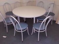 Canteen tables with 6 chairs each. 10 available