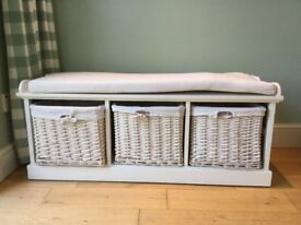 Hallway white painted storage bench settle with 3 baskets useful, VG used cond.