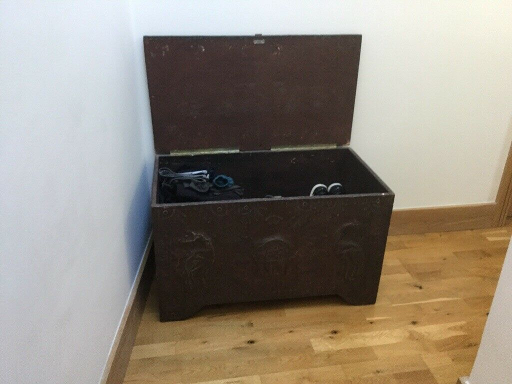 African Metal And Wood Trunk Chest
