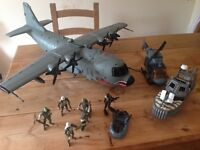 Large army airplane, with lights and sound, with action figures and vehicles