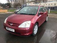 HONDA CIVIC 1.6 2002 / MANUAL / PETROL / MOT / SERVICE HISTORY / LOVELY CAR / £845