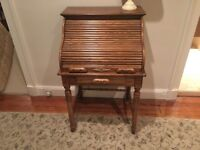 reproduction oak roll top desk with key