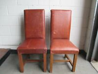 PAIR OF LARGE LEATHER COVERED HIGH BACK DINING CHAIRS FREE DELIVERY
