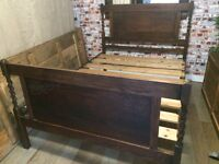 Elegant Victorian solid wood antique double bed frame, free mattress optional!