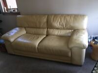 2 three seater leather sofas