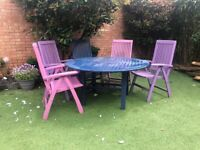 MODERN GARDEN DINING TABLE & 6 RECLINING CHAIRS