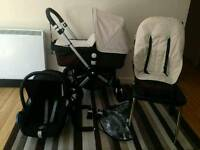 Bugaboo Cameleon Brown/Off White With Car Seat