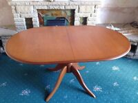 Oval Dining Table with 6 Chairs - Matching Dresser cabinet all in Rosewood