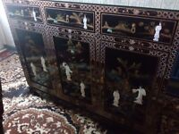 Oriental laquard mother of pearl glass top sideboard forsale