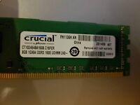 Crucial 8GB DDR3 Desktop memory - PC3-12800 @ 1600Mhz