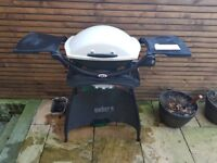 ***£50 - VERY CHEAP Weber BBQ - Q1200 - Portable, cover, stand, gas canister (1/2 full)***