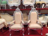 2 x Ex Display Ankara Throne Chair (155cm) Silver leaf gilded Asian Wedding Queen French Ornate King