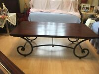 MUST CLEAR BY 14th MARCH !!! ACCEPTING OFFERS COFFEE TABLE, BROWN WAXED WOOD & CURVED METAL FRAME