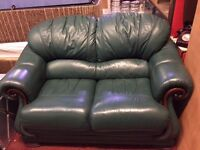 Green leather 3 seater and 2 seater