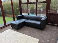 Black Leather Corner Sofa 2 Years Old