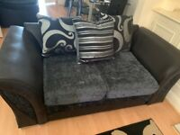Velvet and leather, grey and black 2+3 seater sofa set