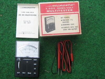 Micronta 1000 Ohmsvolt Multitester Radio Shack 22-027b Wleads Box