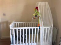 Baby cot, maxicosi infant seat with isofix, , changing table, walker, safety gates, bath stand