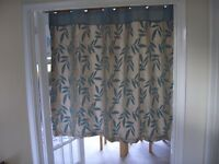 Flower pattern, duck egg blue eyelet curtains