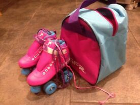 Girls Roller Boots & Carry Bag