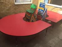 2 semi circle school tables and chairs