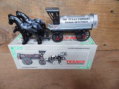 HORSE DRAWN TEXACO TANKER ~DIE CAST METAL BANK SERIES # 8 NEW ~THE TEXAS COMPANY