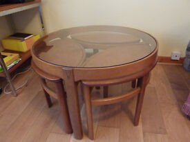 Vintage 1960s teak nest of tables with glass coffee table