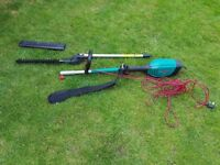 Bosch AMW10 power unit with long reach pole hedge cutter attachment