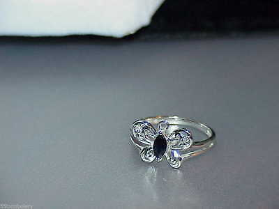 10K WHITE GOLD SAPPHIRE & DIAMOND BUTTERFLY RING FILIGREE SIZE 7 NEW